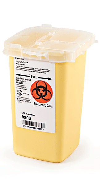 SharpSafety Sharps Container Phlebotomy, Yellow 1 Quart - Case of 100