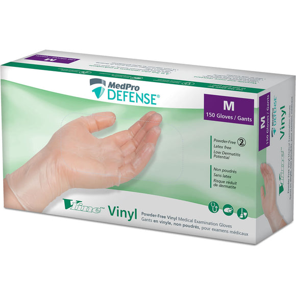 MEDPRO DEFENSE VLINE POWDER-FREE VINYL MEDICAL EXAMINATION GLOVES 5 BOXES PER ORDER (150/BOX)