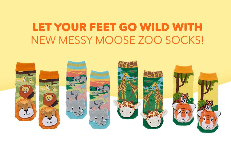 Let Your Feet Go Wild With New Messy Moose Zoo Socks!