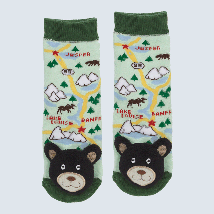 Two socks against a white background. The socks feature a map of Alberta and a cute plush bear charm on the toe.