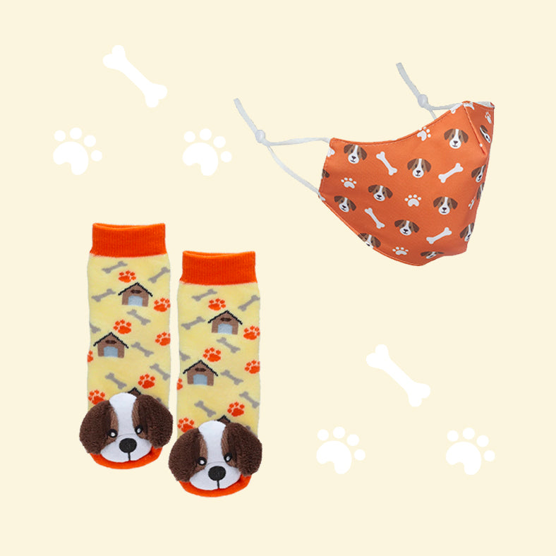 St. Bernard Puppy Face Mask & Socks Set
