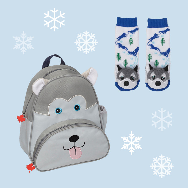 Husky Backpack & Socks Set