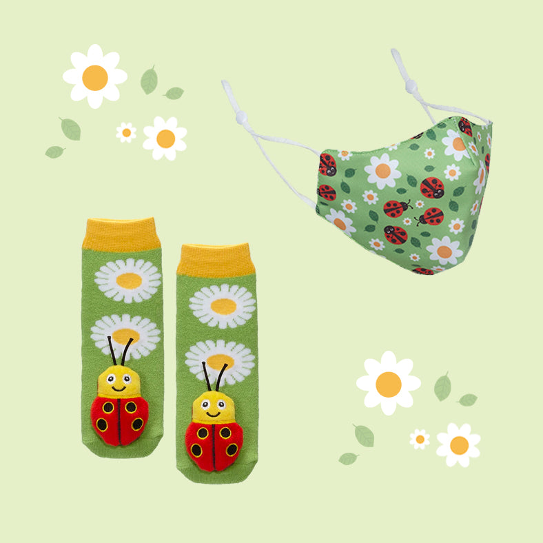 Ladybug Face Mask & Socks Set