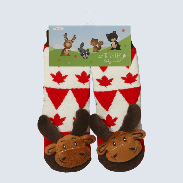 Baby Socks Maple Leaf Moose