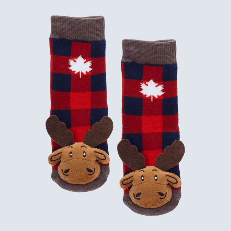 Baby Socks Plaid Moose with Maple Leaf