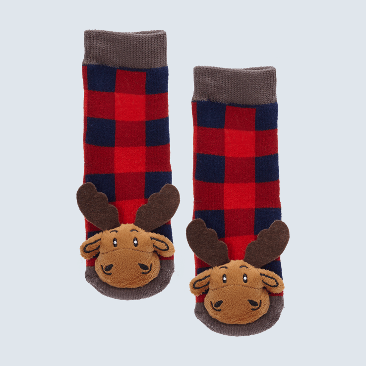 Two plaid socks against a white background. The socks feature a cute plush moose charm on the toe.