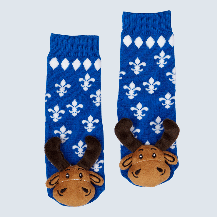 Two blue socks against a white background. The socks feature a fleur de lys motif and a cute plush moose charm on each toe.