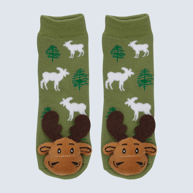 Two socks against a white background. The socks feature a forest motif and a cute plush moose charm on the toe.