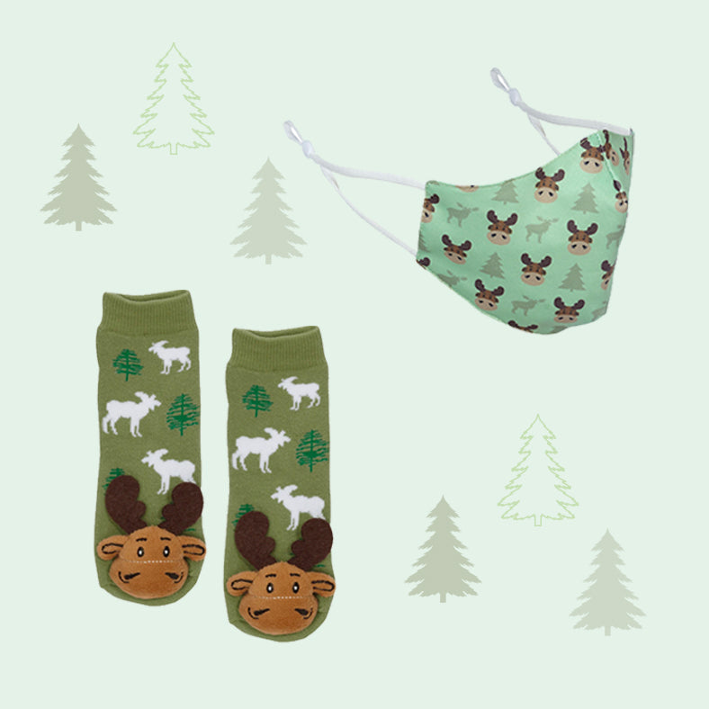 Moose Face Mask & Socks Set