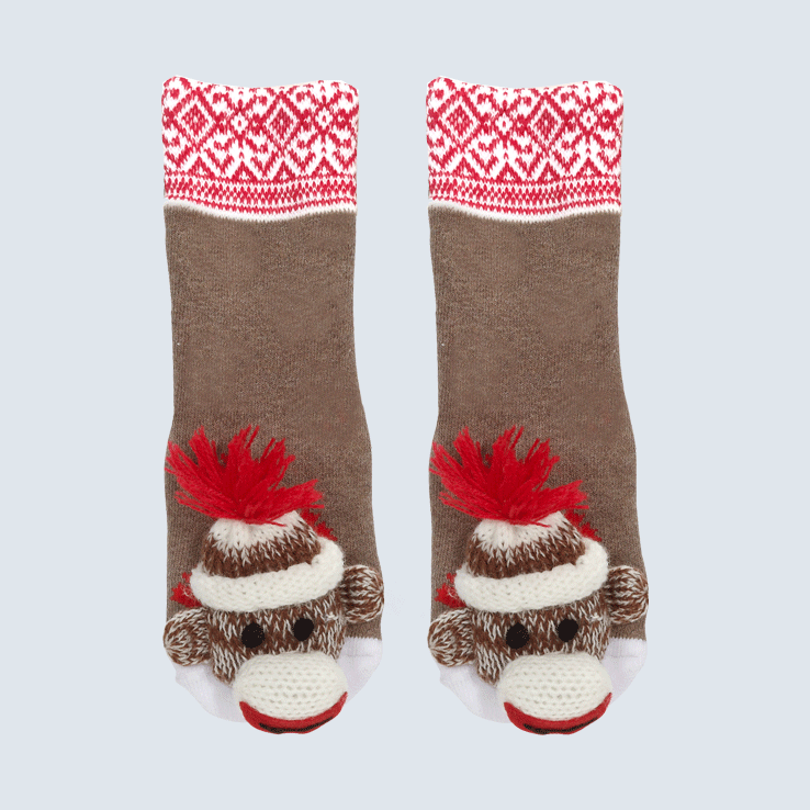 Baby Socks Monkey Aztec Trim