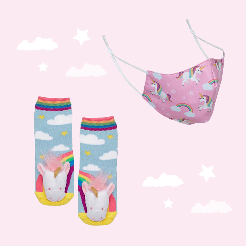 Unicorn Face Mask & Socks Set