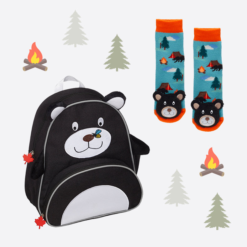 Black Bear Backpack & Socks Set