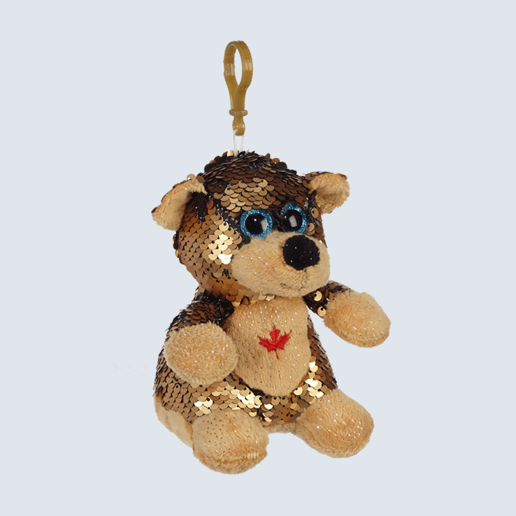 Brown Bear Sequin Keychain