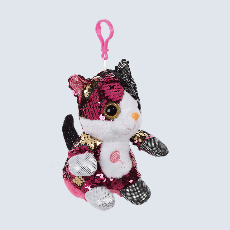 Black and Pink Sequin Kitten Keychain
