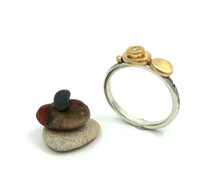 Ring Cairn of gold pebbles, diamonds, silver