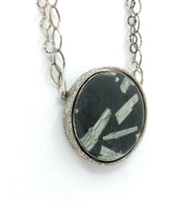 Load image into Gallery viewer, Reversible Silver Pendant Chinese Writing Stone