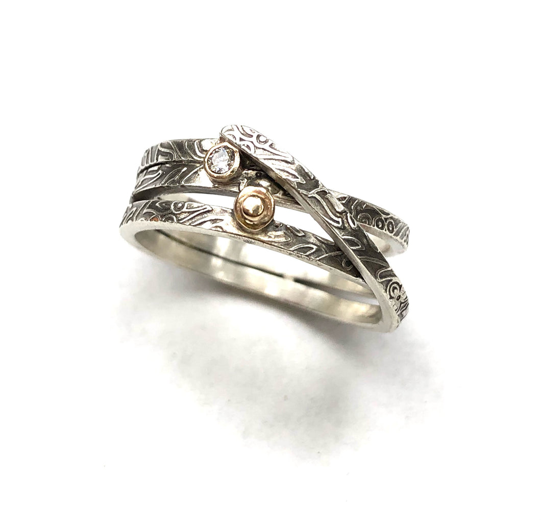 Entwine Ring Silver and 14k gold with Diamond