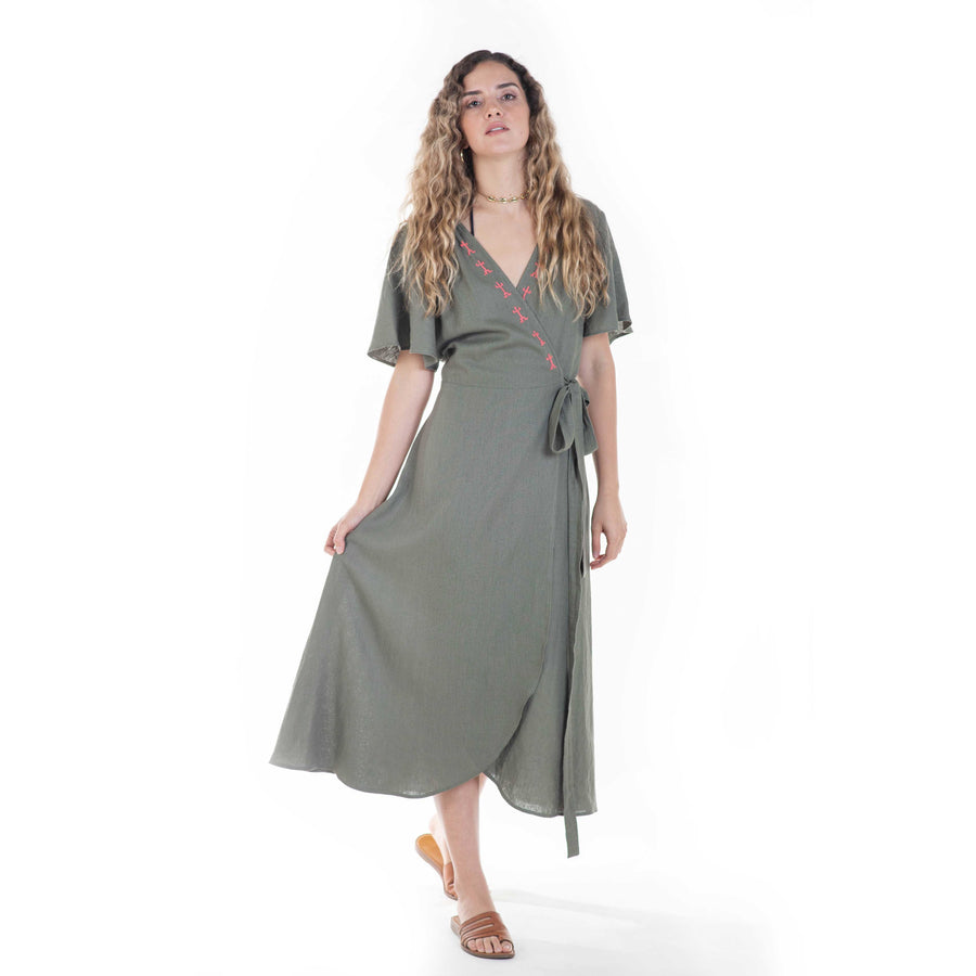 colima dress in green