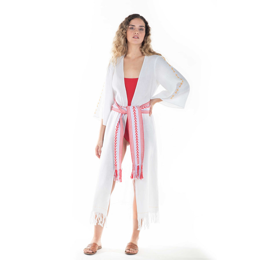 olas altas kimono with lilac-red belt