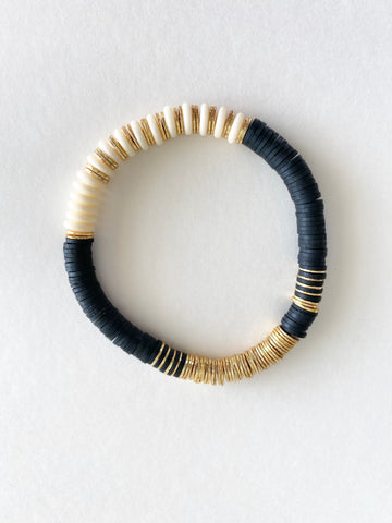 Black and White Bone Bead Bracelet