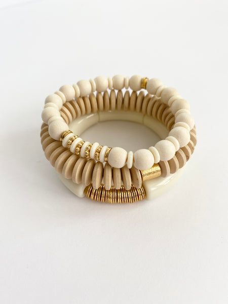 White Bone Beaded Bracelet