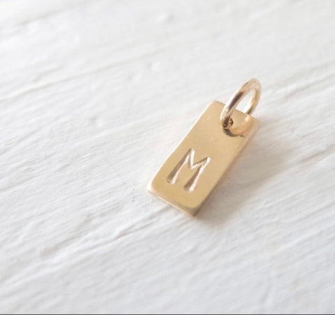 PRE-ORDER Hand Stamped Gold Rectangle Necklace