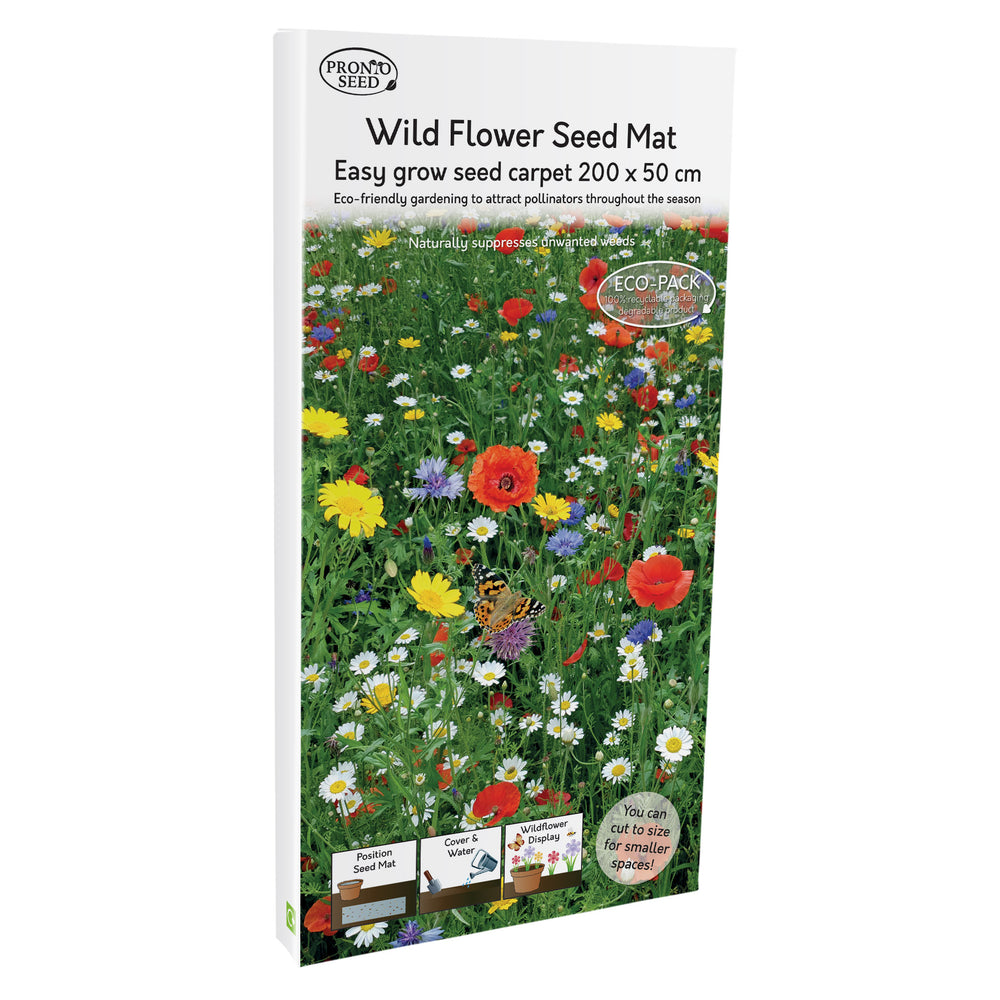 Pronto Seed Butterfly & Bee Attracting Flower Seed Planting Mat Carpet Biodegradable Eco Friendly (Wildflower)