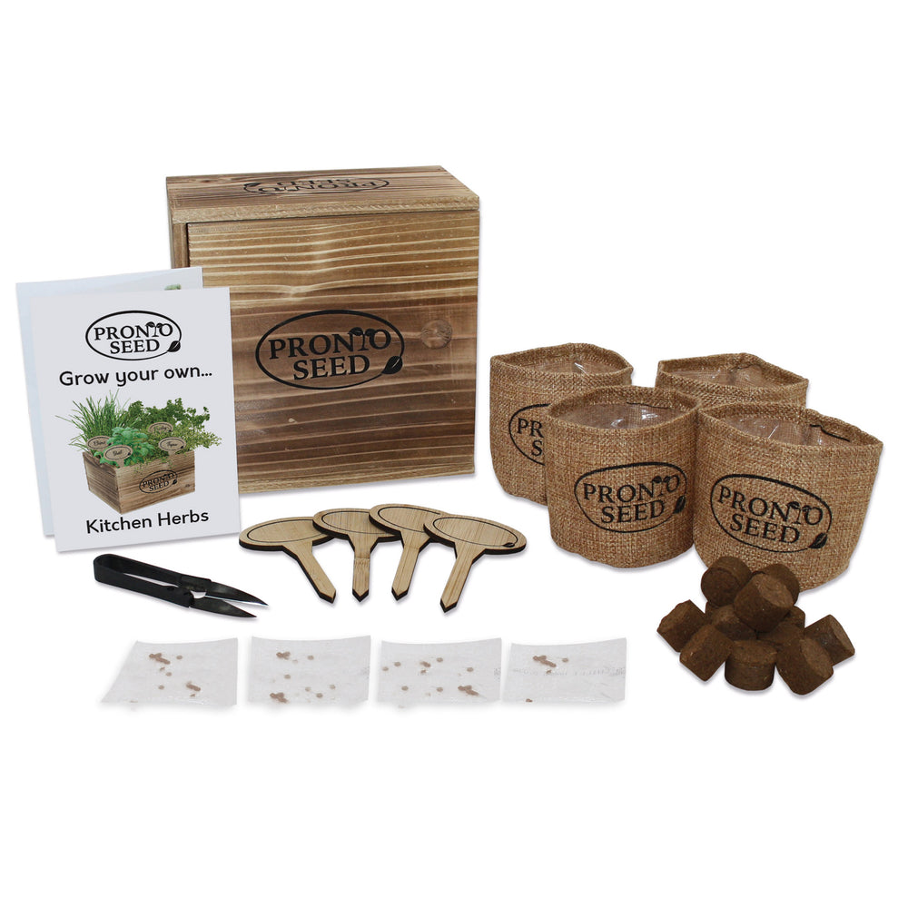 Herb kit, Premium Herb Growing Set, Grow 4 Most Popular Varieties from Seed in Reusable Wooden Box