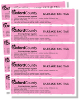 Garbage Bag Tags - set of 10&nbsp; <br>($2 per tag)