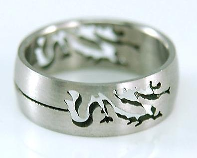 Gothic Style Silver Dragon Stainless Steel Ring MR047