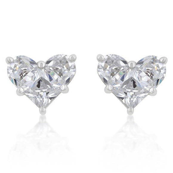 White Cubic Zirconia Heart Stud Earrings