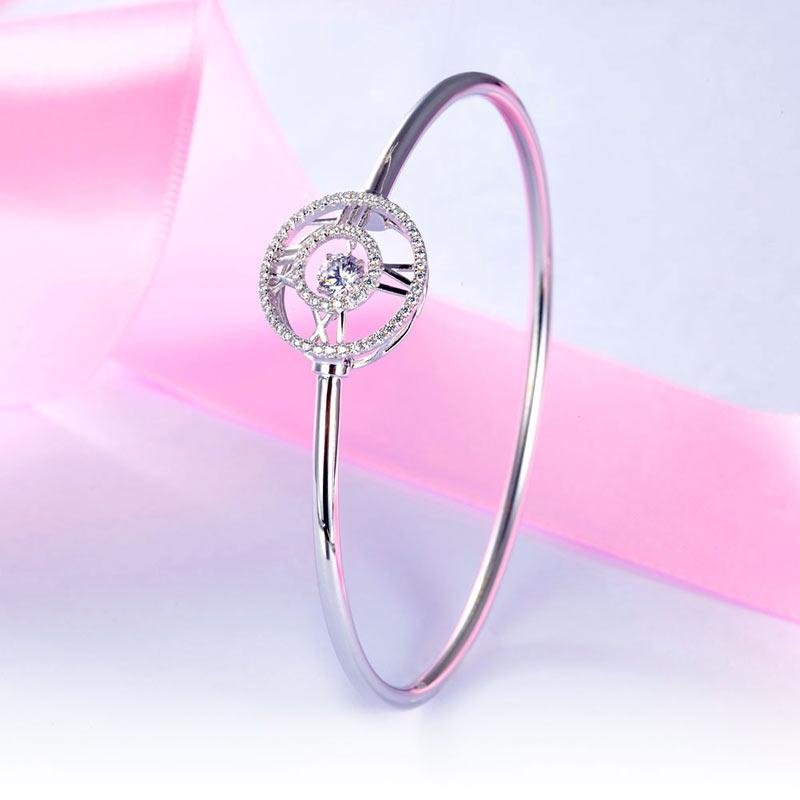 Roman Number Dancing Stone Bangle Solid 925 Sterling Silver for Women XFB8012