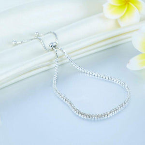 Solid 925 Sterling Silver Bracelet Adjustable Fashion Birthday Bridesmaid Gift XFB8023