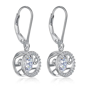 Dancing Stone Dangle Drop Earrings 925 Sterling Silver Wedding Gift XFE8130