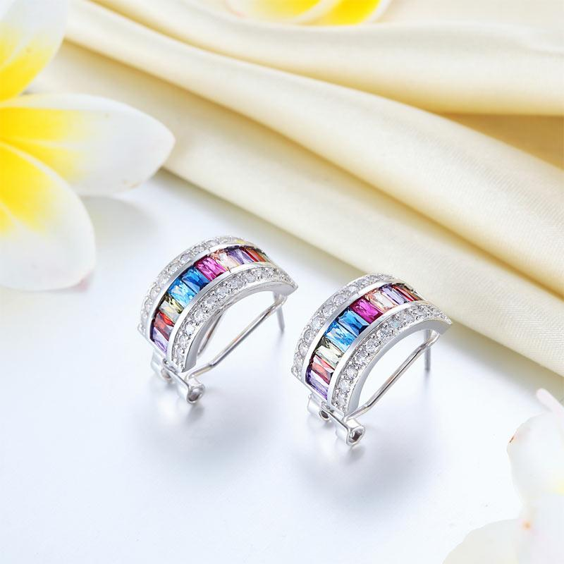 Multi-Color Stones 925 Sterling Silver Earrings Jewelry XFE8131