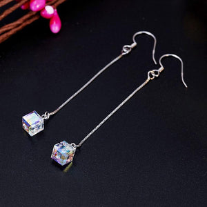 Top Quality Dangle Drop Line 925 Sterling Silver Earrings AB Austrian Crystal Party Jewelry
