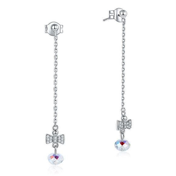 Solid 925 Sterling Silver Drop Dangle Ribbon AB Crystal Earrings