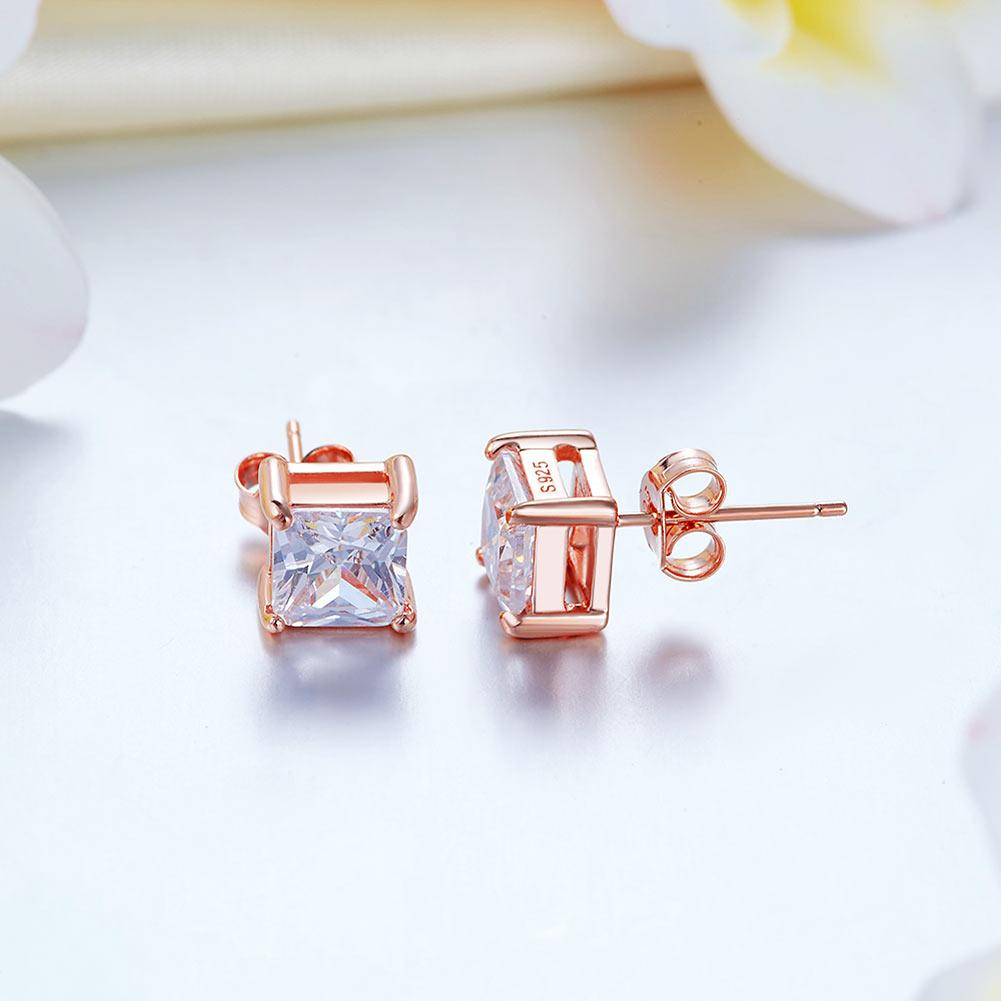 1 Ct Princess Cut Created Diamond Stud Earrings 925 Sterling Silver Rose Gold Plated XFE8153