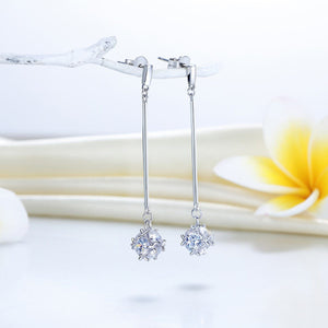 Elegant Solid 925 Sterling Silver Earrings Dangle Cube Created Diamonds