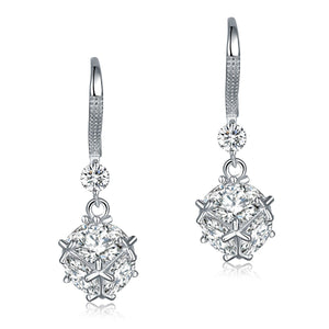 Solid 925 Sterling Silver Earrings Cube Created Diamond Fashion Bridal Bridesmaid