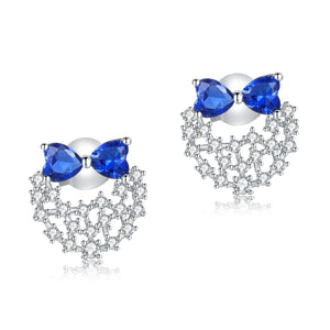 Solid 925 Sterling Silver Stud Earrings Blue Created Diamonds