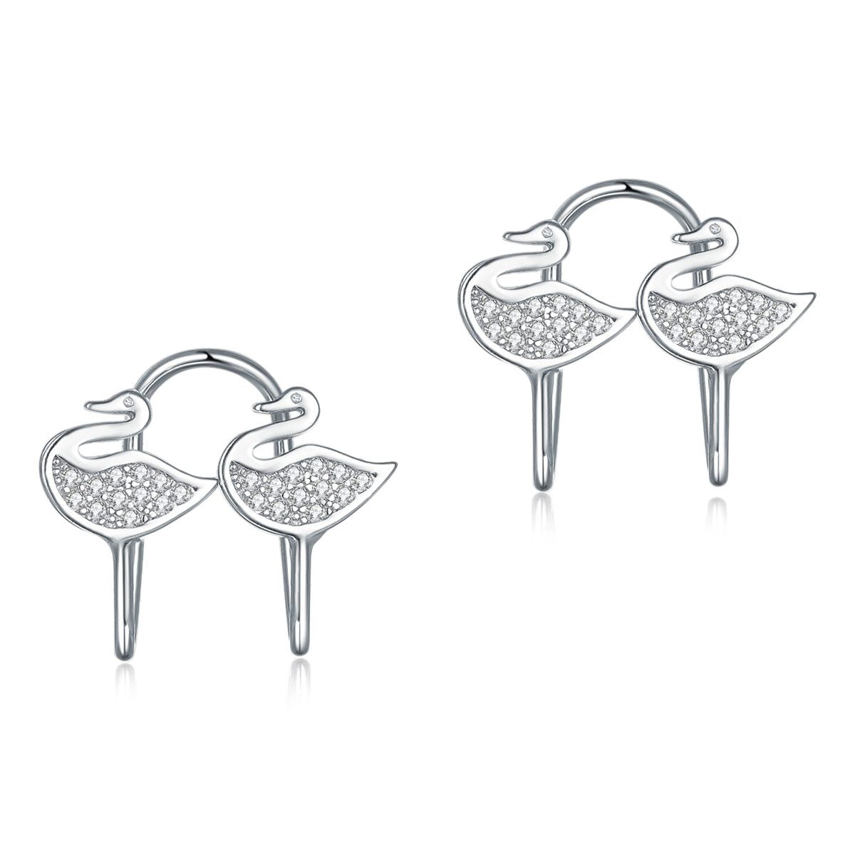 Solid 925 Sterling Silver Clip on Earrings Swan