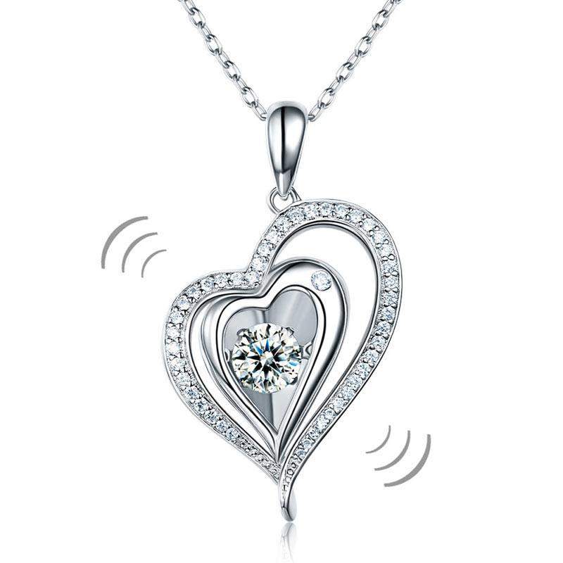 Dancing Stone Heart Pendant Necklace 925 Sterling Silver Good for Wedding Bridesmaid Gift XFN8047