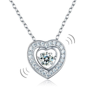 Dancing Stone Heart Pendant Necklace 925 Sterling Silver Good for Bridal Bridesmaid Gift