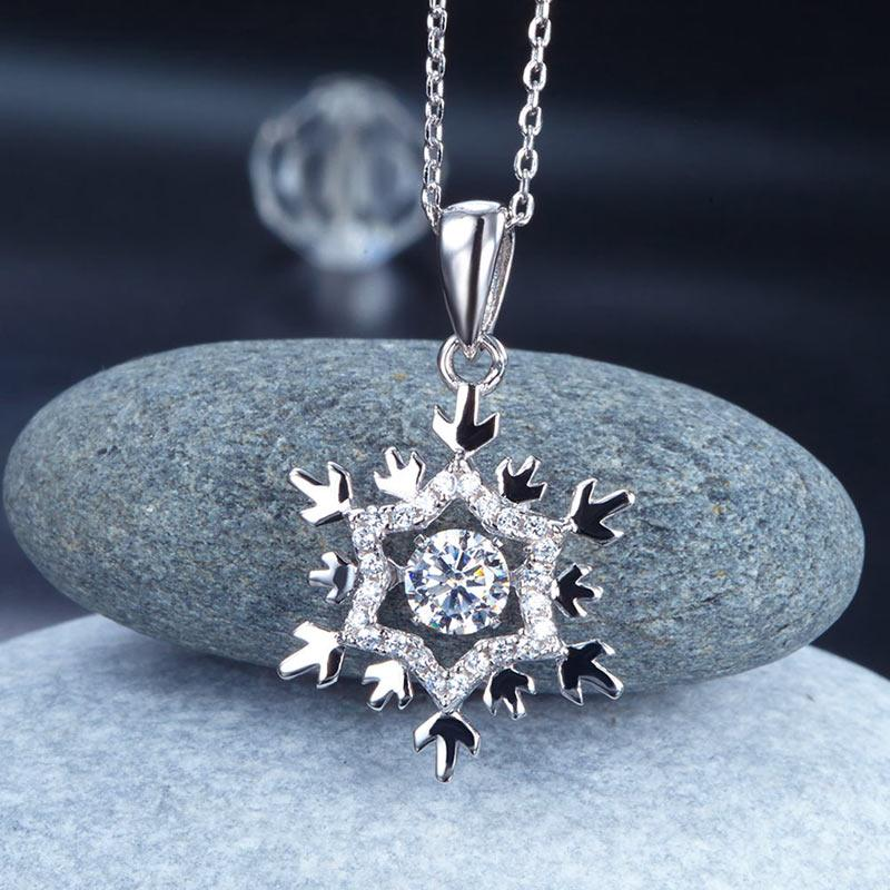 Dancing Stone Snowflake Pendant Necklace 925 Sterling Silver Good for Bridal Bridesmaid Gift