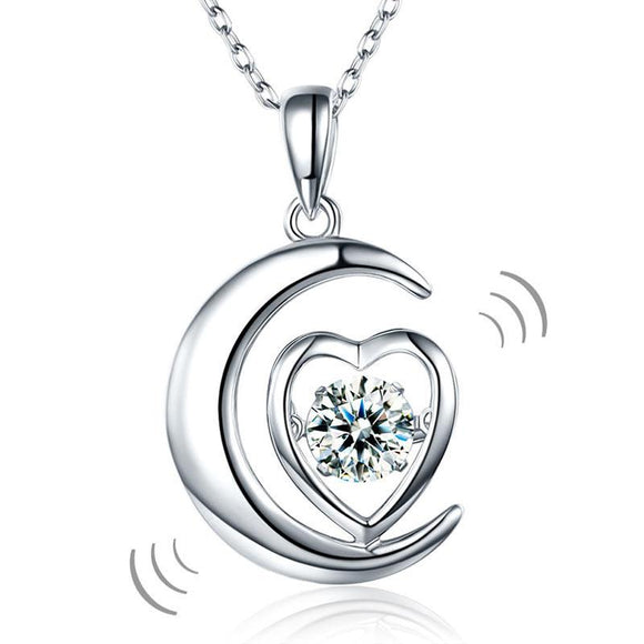 Dancing Stone Moon Heart Pendant Necklace 925 Sterling Silver Good for Bridal Bridesmaid Gift XFN8056