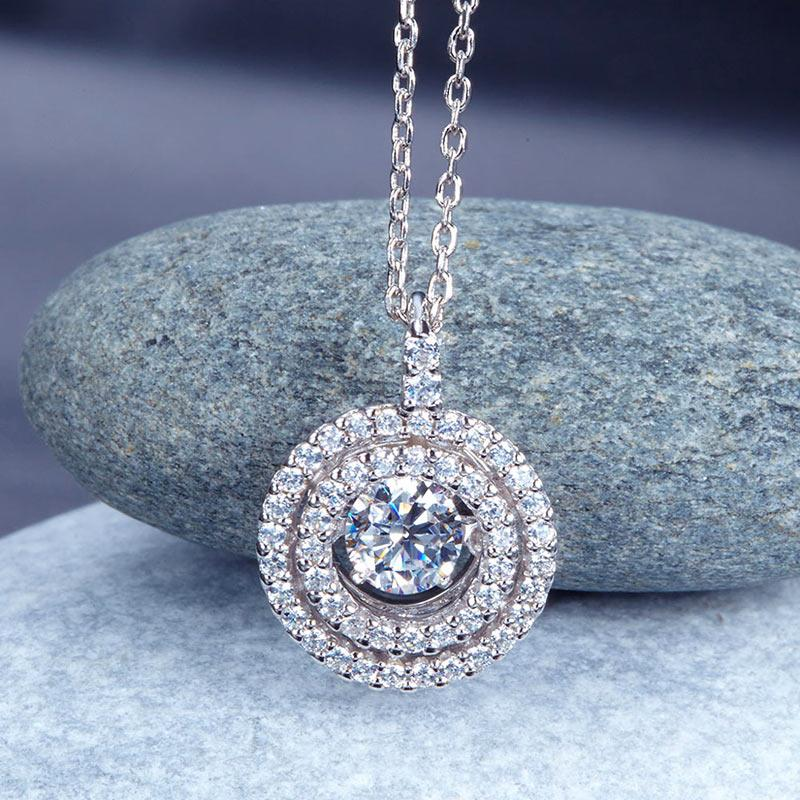 Dancing Stone Halo Pendant Necklace Solid 925 Sterling Silver XFN8057