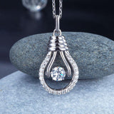 Dancing Stone Bulb Pendant Necklace 925 Sterling Silver XFN8067