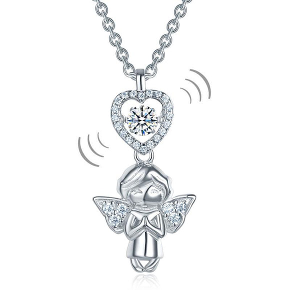 Angel Heart Dancing Stone Kids Girl Pendant Necklace Solid 925 Sterling Silver Children Jewelry XFN8068