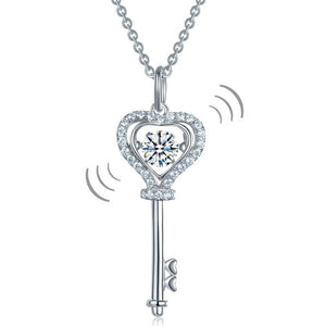Key Heart Dancing Stone Kids Girl Pendant Necklace 925 Sterling Silver Children Jewelry XFN8069